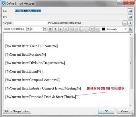 sharepoint designer workflow email sharepoint designer workflow adding date field to