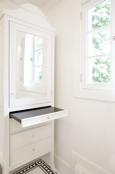 bathroom armoires white mirrored armoire transitional bathroom scott lyon
