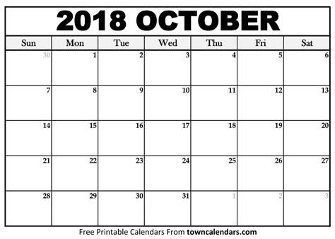 october 2018 calendar template