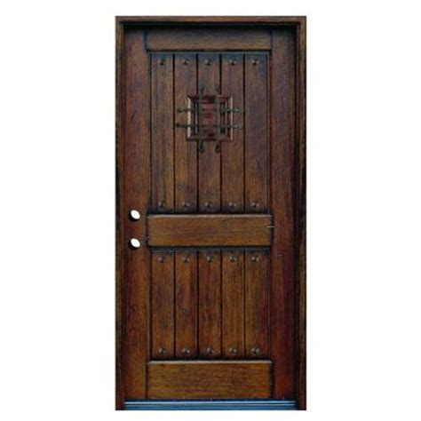 Home Depot Wood Exterior Doors 36 In X 80 In Rustic Mahogany Type Prefinished Distressed Solid Wood Speakeasy Prehung Front