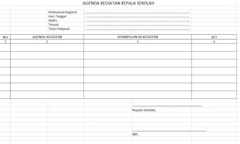format buku agenda download format buku agenda kegiatan kepala sekolah