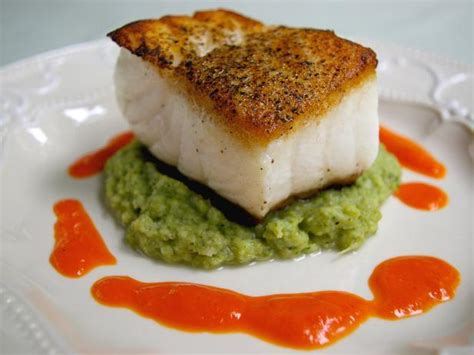 Cooks Whole White Pepper pan fried sea bass with roasted pepper sauce and