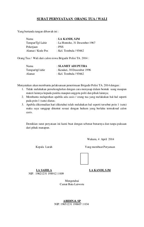 Contoh Surat Pernyataan Orang Tua Siswa Baru - Job Seeker
