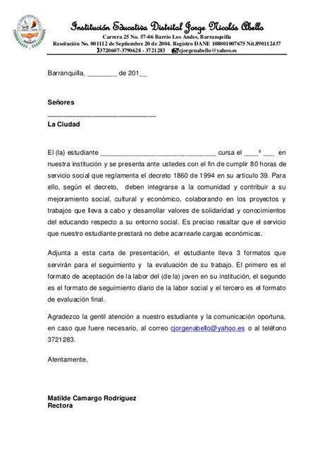 carta de presentacion ejemplo trabajo social formato carta de presentaci 211 n estudiantes trabajo social