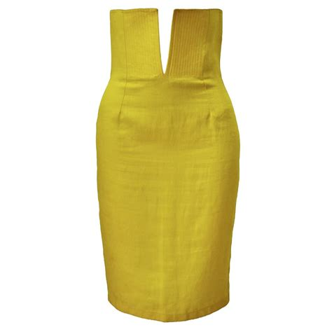 exceptional gianni versace haute yellow high waisted linen