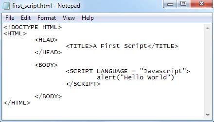 javascript tutorial script javascript tutorial a first script