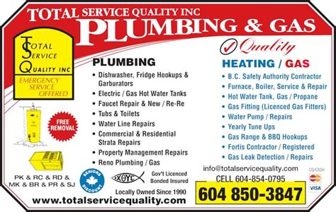 Quality Plumbing by Total Service Quality Plumbing Gas Abbotsford Bc