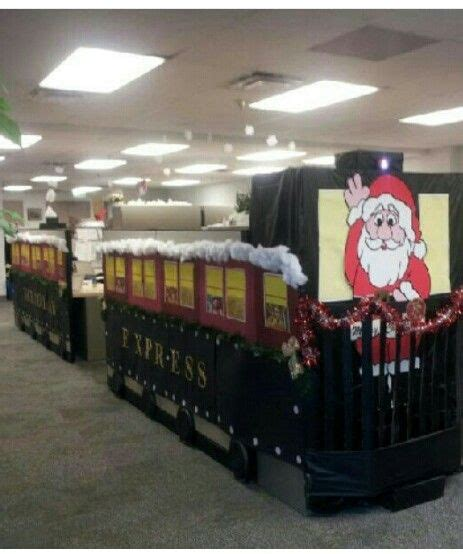 office decorated in the polar express side and back view of pola r express cubicle decorating contest 1st place alliegirl