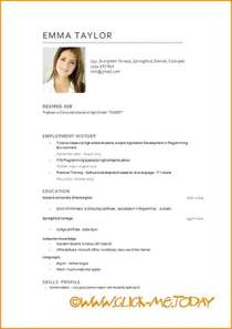 Curriculum Vitae Format Doc by 5 Cv English Model Modele De Facture