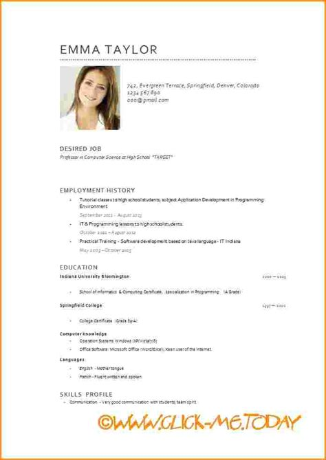 Modele Pour Cv by Cv Model Exemple De Cv Jaoloron
