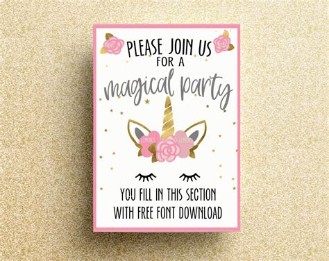 free printable unicorn birthday invitation unicorn printable birthday invitation unicorn invitations