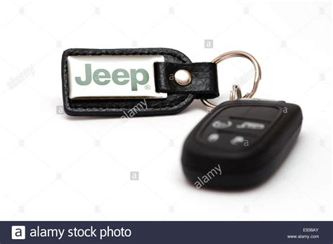 resetting jeep key fob electronic car key with jeep branded fob key ring stock