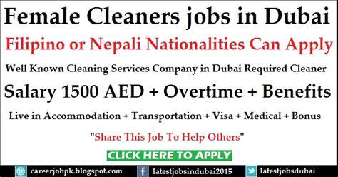cleaner jobs in dubai female cleaners jobs in dubai for cleaning service company