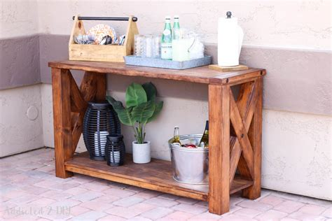 outdoor console table diy diy rustic outdoor console table great outdoors