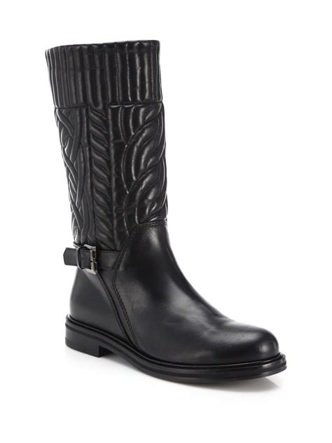 black leather moto boots lyst aquatalia bonnie quilted leather moto boots in black