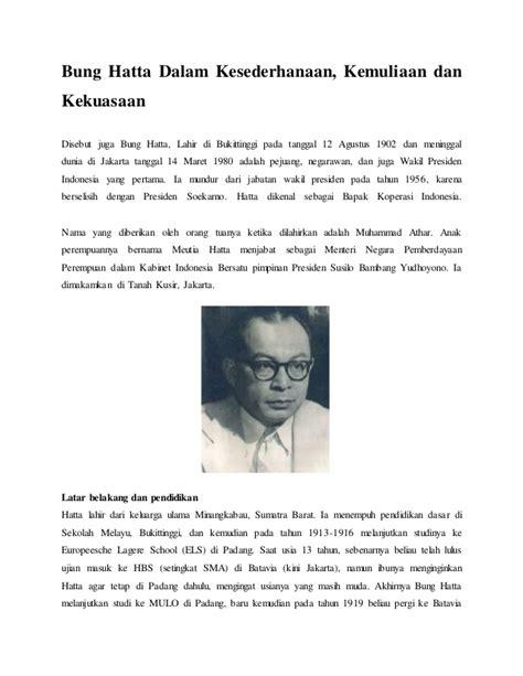 biografi bung hatta pdf bung hatta dalam kesederhanaan