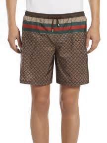 gucci web detail diamante swim shorts in brown for men chocolate lyst