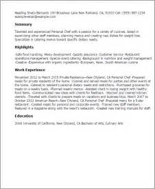 Personal Chef Sle Resume professional personal chef templates to showcase your talent myperfectresume