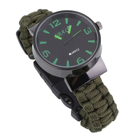 6 in 1 Survival Paracord Watch Bracelet With Flint Compass Whistle For Hiking   eBay