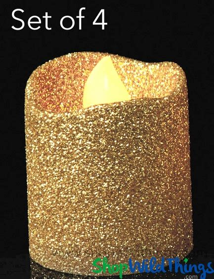 led gold glitter flameless candle 10 in candles home gold glitter candles flameless 4pcs shopwildthings com