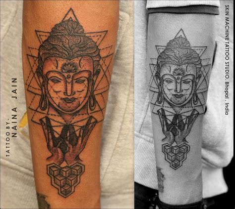 geometric buddha tattoo by naina completely custom