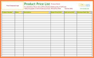 Price Sheet Template by Doc 7801094 Price Sheet Template Price List Template