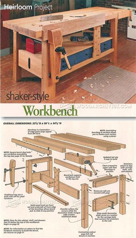 shaker bench plans shaker workbench plans workshop solutions projects tips