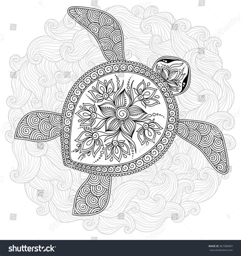 marvelous sea turtles coloring book for adults stress relief coloring book for grown ups books pattern coloring book coloring book pages stock vector