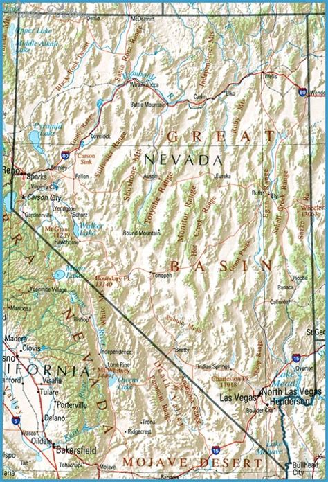 nevada mountains usa map nevada map tourist attractions travelsfinders