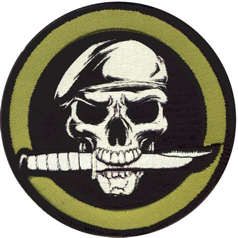 black military skull knife patch with hook back ebay