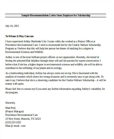 letter of recommendation from employer 9 employer recommendation letter sles sle templates