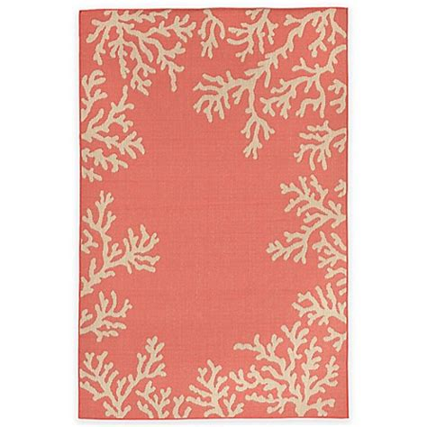 Liora Manne Terrace Coral Border Indoor Outdoor Rug Bed Coral Indoor Outdoor Rug