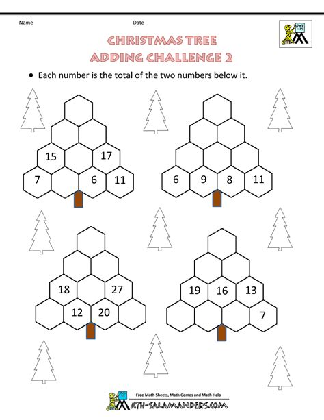 the christmas tree math problem math challenge worksheets 6th grade 1000 images about challenge on math word