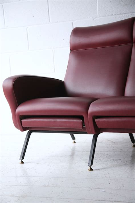 sofa with extendable footrest 1950s italian red vinyl sofa cream and chrome
