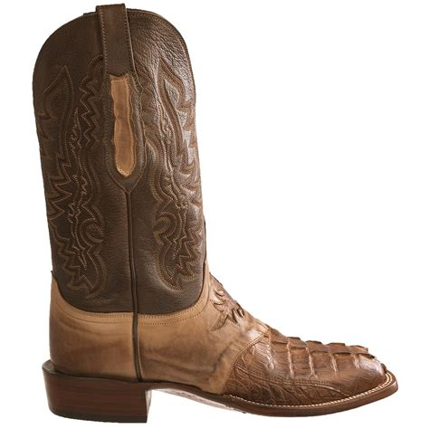 lucchese square toe boots mens lucchese hb croc calf western boots for 6304h