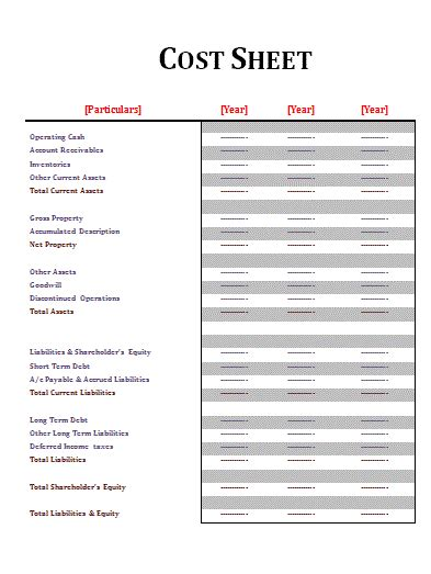 Cost Sheet Template Free Sheet Templates Free Cost Sheet Template