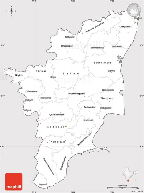 Tamilnadu Outline Map India by Silver Style Simple Map Of Tamil Nadu Cropped Outside