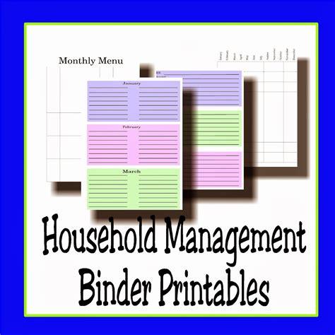 home management binder free printables everyday