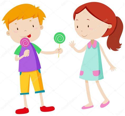 imagenes de niños jugando y compartiendo ni 241 o compartiendo dulces con la chica vector de stock