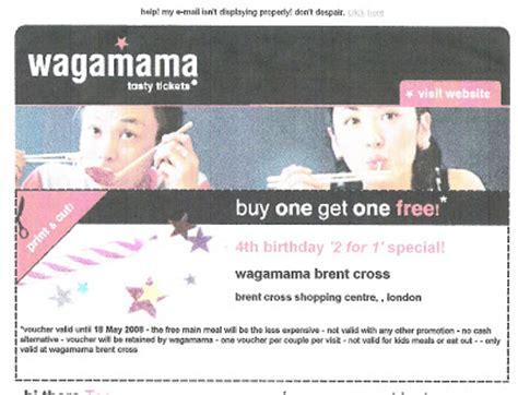 printable voucher wagamama luster shine 2 for 1 promotion at wagamama brent cross