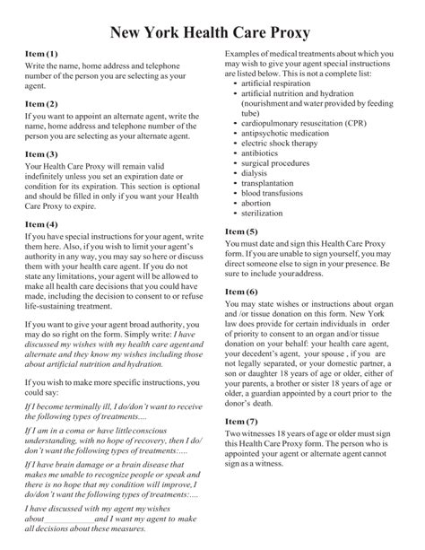 proxy form health care proxy template gallery resume ideas