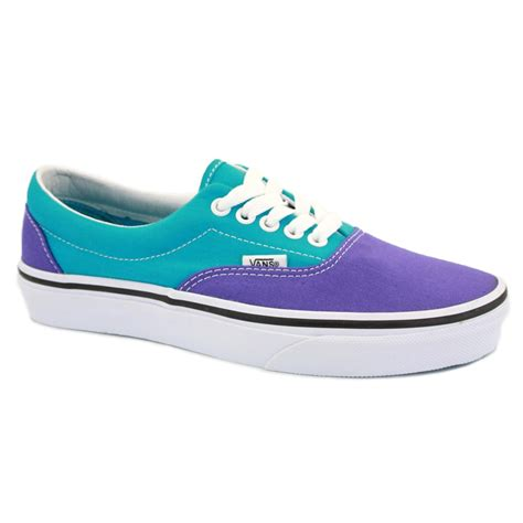 vans era purple vans 2 tone era qfk766 womens laced canvas trainers blue