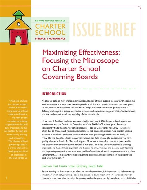 Mba Charter School by Charter School Governing Boards