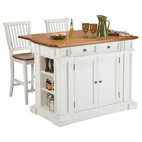 Home Styles Kitchen Island With Breakfast Bar by Home Styles White And Oak Finish Large Kitchen Island