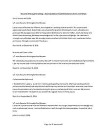 Resume Writing Recommendations Resume Writing And Editing Representative Recommendations From Thum