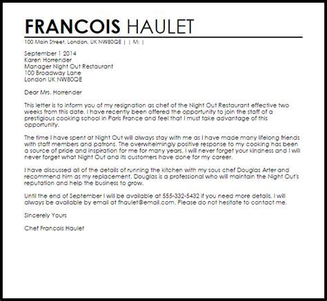 Letter Restaurant Restaurant Resignation Letter Resignation Letters Livecareer
