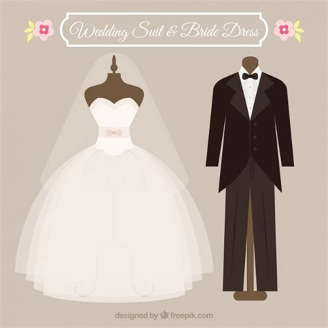 Wedding Dress Vector by Wedding Suit And Dress Vector Free