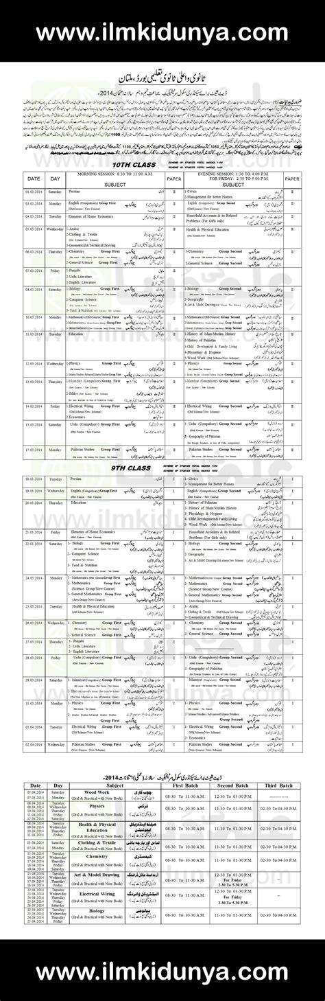 bise multan board matric date sheet 2017