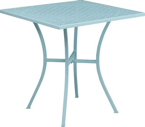 Blue Patio Table by 28 Square Sky Blue Indoor Outdoor Steel Patio Table