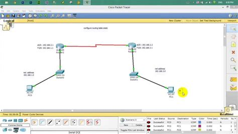 routing table cisco how to configure routing table static in cisco packet